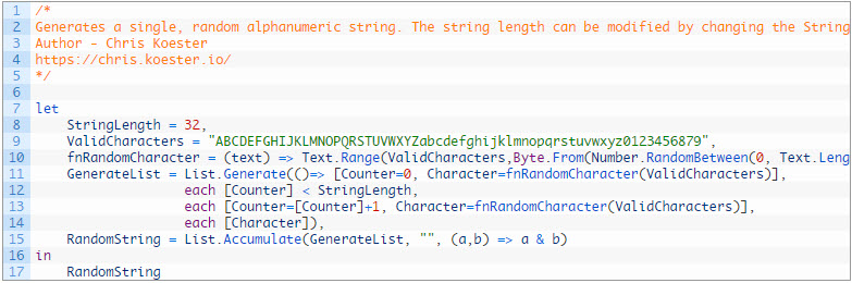 Generate a Random Alphanumeric String in Power Query